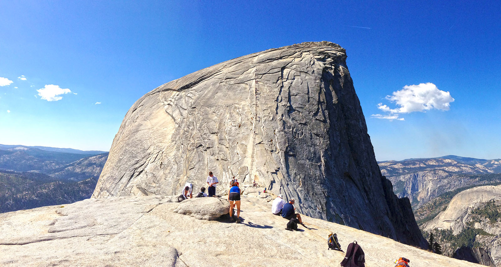 "Waiting to head up ""The Cables"" at the saddle to Half Dome"