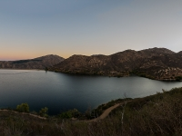 Hiking up past Lake Poway early in the morning