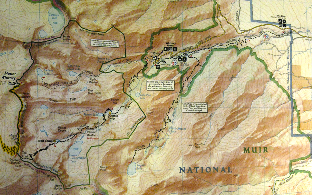 More Detailed Map of Mt Whitney Trail