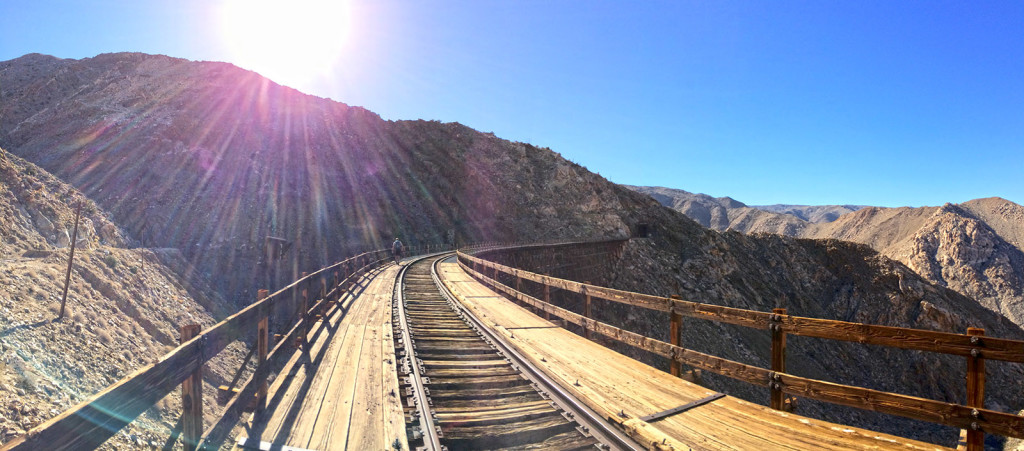 Walking across Goat Canyon Trestle Bridge