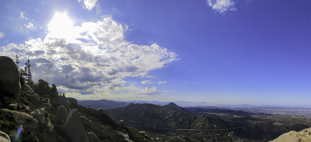 Looking down at highway 67 and Iron Mountain from the top of Mt Woodson