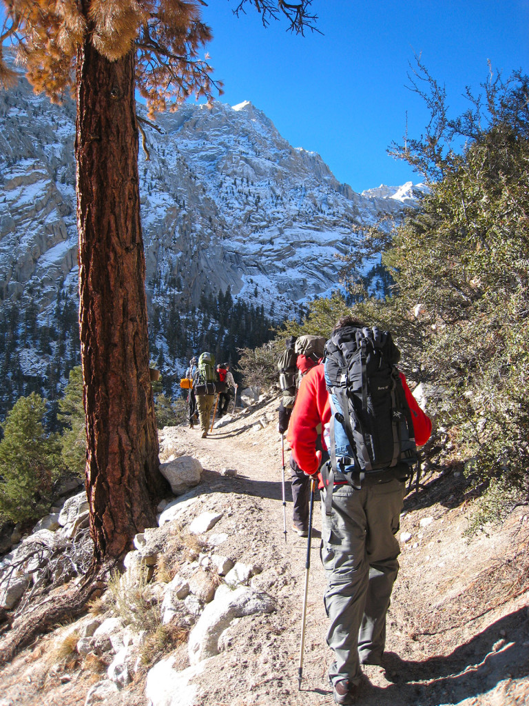 Heading up the trail in the beginning of the Mt Whitney Hike