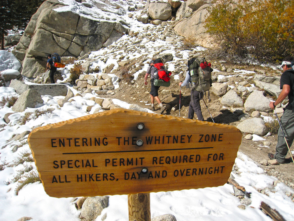 "Entering the ""Whitney Zone"" permits are required past this point."