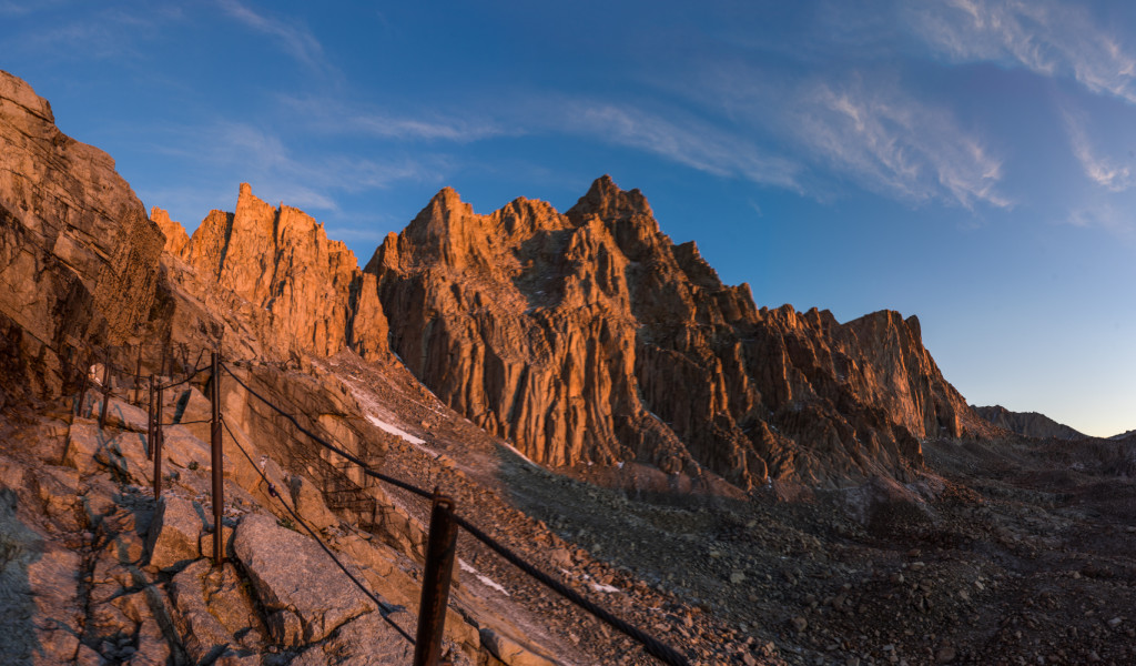 "Sunrise at the cables on the famous ""99 switchbacks"" on the way up the Mt Whitney Trail"