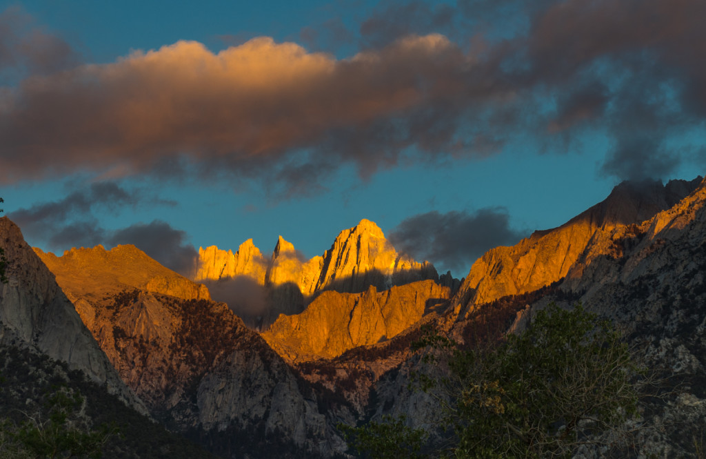 Sunrise on Mt Whitney as seen from the Lone Pine Campground