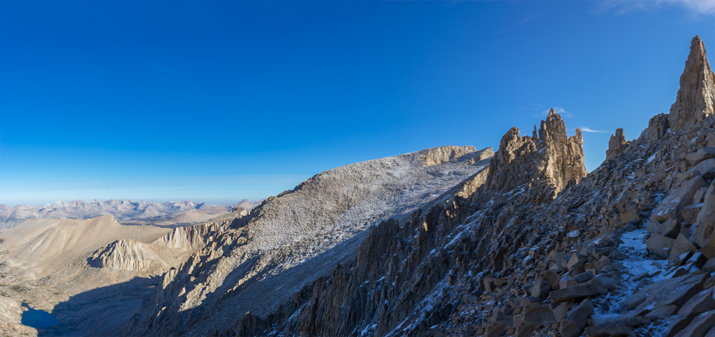 The trail heading along the backside towards the top of  Mt Whitney