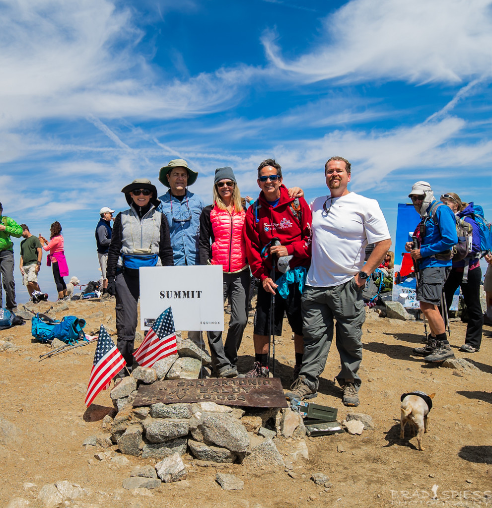 Some of my team members and myself at the summit on Mt Baldy during the 2016 Climb for Heroes event