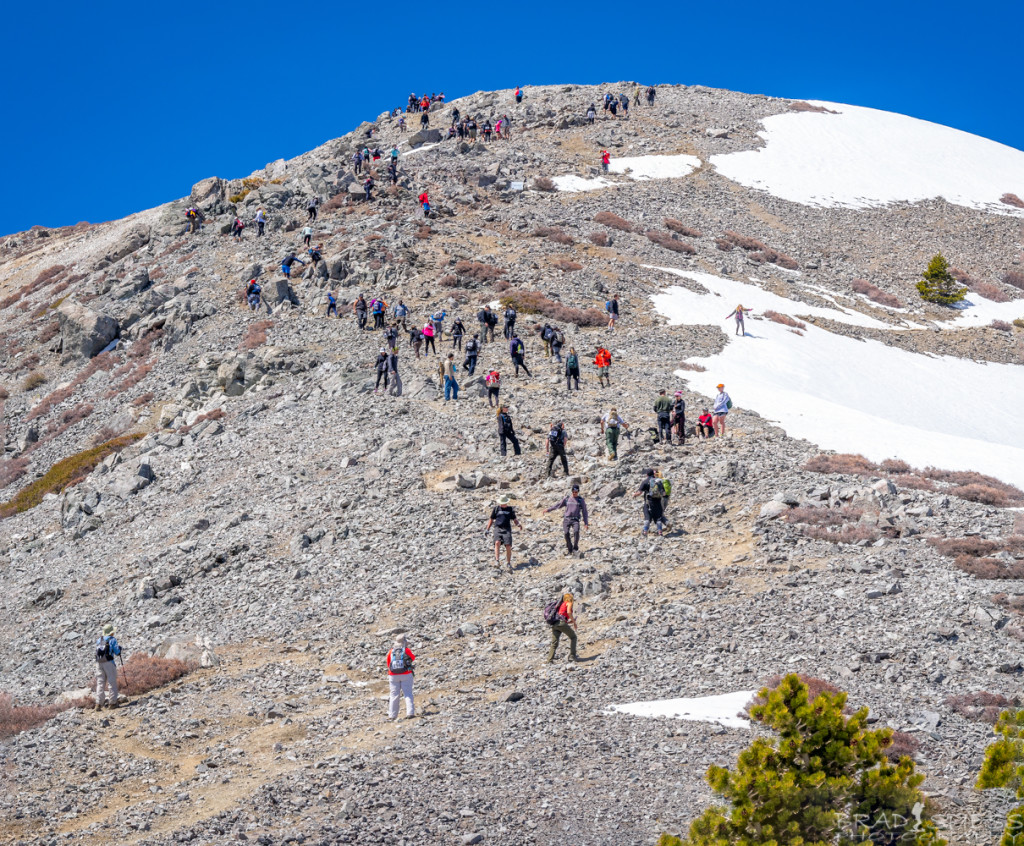 "Hikers making their way up the last hill to the peak of Mt Baldy on the ""Climb for Heroes"" event"