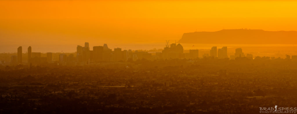 Looking at downtown San Diego during the sunset from the top of Cowles Mountain