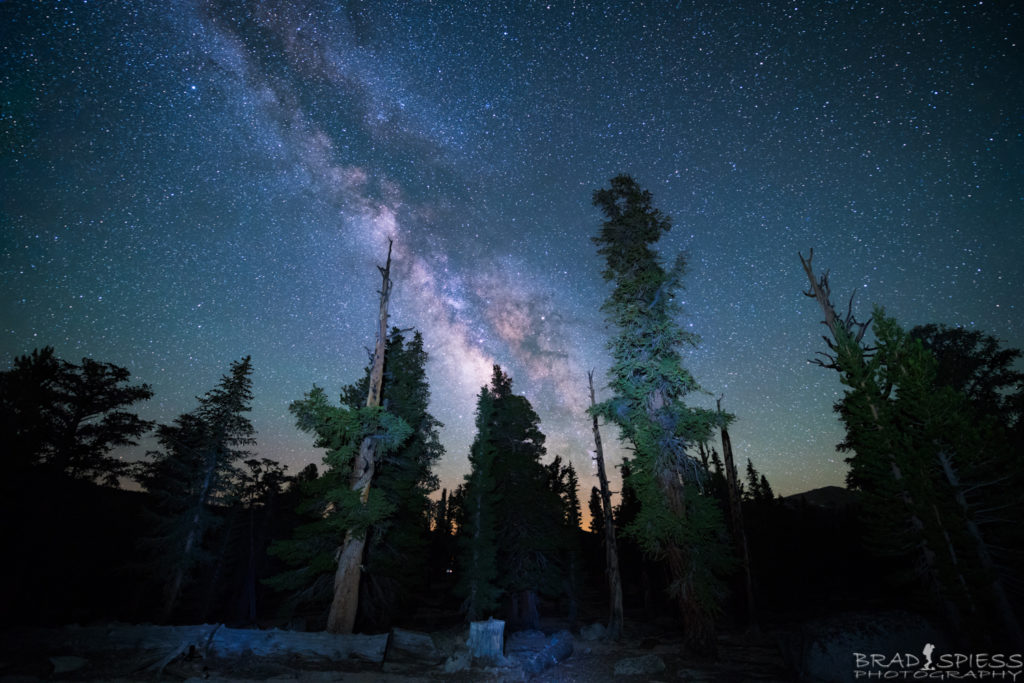 Looking up at the Milky Way on the New Army Pass trail in the Cottonwood Lakes area